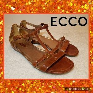 Ecco Brown Leather Gladiator Sandals Sz 40 (9-9.